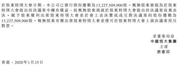 中国恒大正式通过分红方案:派息总额达208亿港元